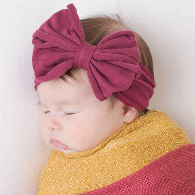 Rolled Bow on Nylon Headwrap Mulberry 35