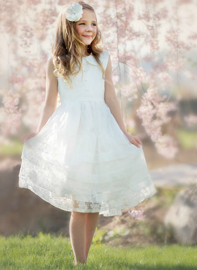 Mikayla Lace Flower Girl Dress  Off White
