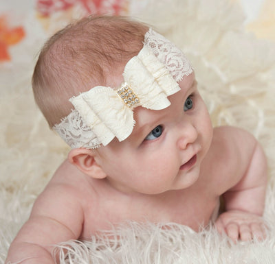 Double Bow Lace Headband - 11 Colors Available