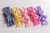 Striped Big Bow Headwraps - Think Pink Bows - 6