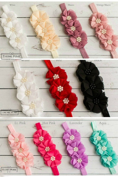 Vintage Blooms Trio Headband Toffee - 11 Colors Available