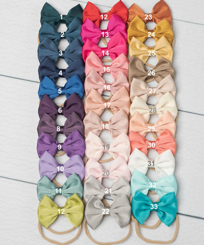 Satin Bowtie Headband - 33 Colors