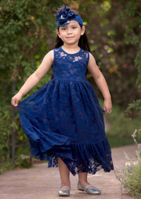 Ella Flower Girl Lace Sleeveless Dress - Navy