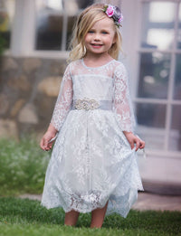 Versailles Flower Girl Dress Pearl Grey