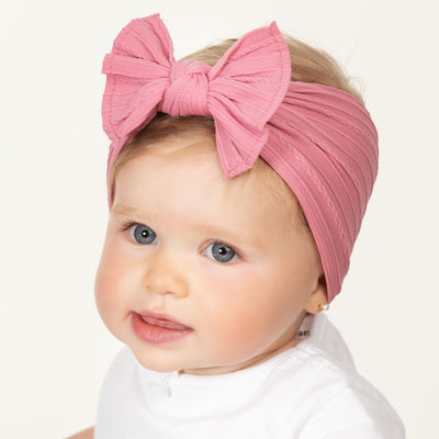 Cable Knit Nylon Headwraps Dusty Rose 13