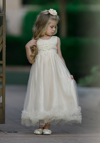 Cassandra Flower Girl Dress - Cream