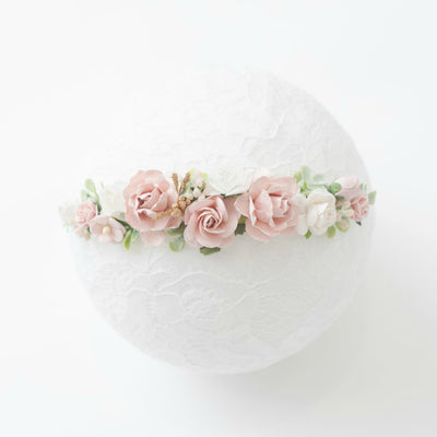 Elastic Flower Girl Crown Style 2 BLUSH
