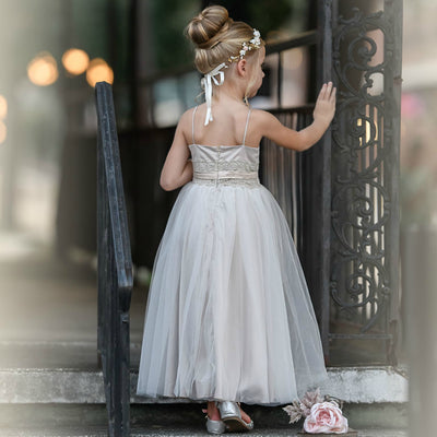 June Flower Girl Antique Champagne Dress