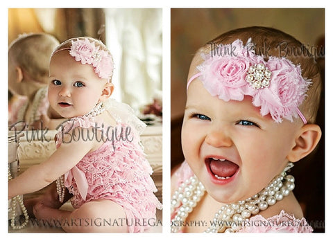 Pink Lace Romper and Headband SET - Think Pink Bows
