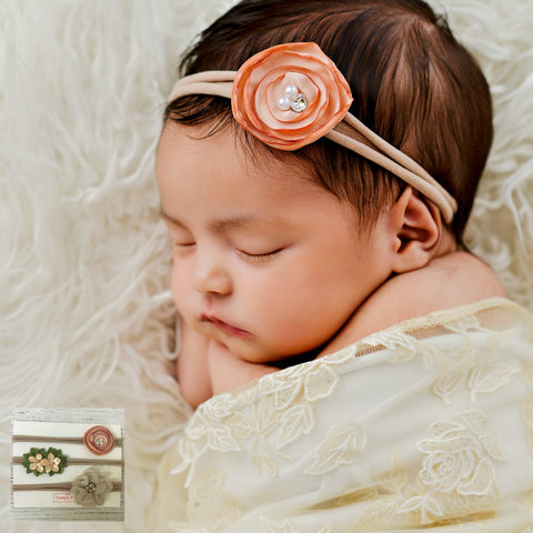 Newborn Baby Skinny Nylon Headband - SET 1