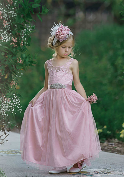 de3b8ad69 Vienna Flower Girl Lace Dress Dusty Rose – Think Pink Bows