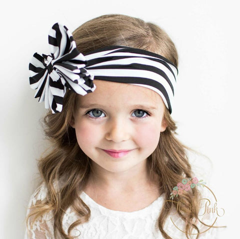 Striped Big Bow Headwraps - Think Pink Bows - 1