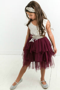 Claire Flower Girl Dress Eggplant