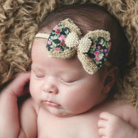 Floral Dream Burlap Bow Baby Girl Headband