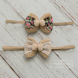 Floral Dream Burlap Bow Baby Girl Headband - Think Pink Bows - 2