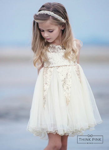 Believe in the Magic Dress - Ivory & Gold - Think Pink Bows - 1