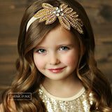 Royalty Gold Bridal & Flower Girl Wedding Rhinestone Bling Headband - Think Pink Bows - 2