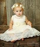 Victorian Gardens Tulle Lace Dress with Pure Paradise Sash - Ivory - Think Pink Bows - 2