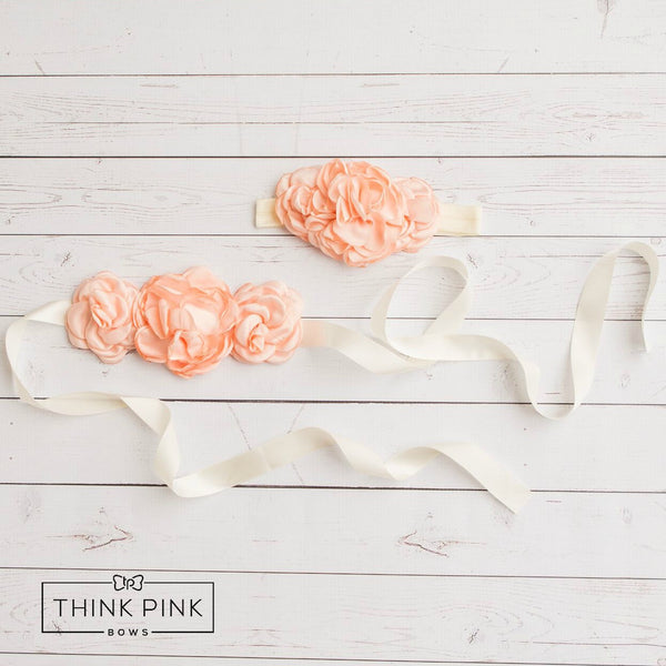 Picture Perfect Flower Sash & Headband SET - Think Pink Bows