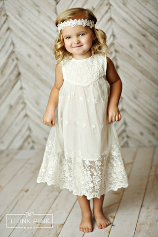 Beautiful Me Lace Dress - OFF White - Think Pink Bows - 1