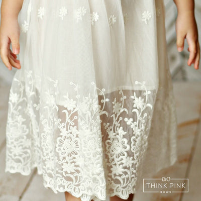 Zaidee Flower GIRL Lace Dress - OFF White