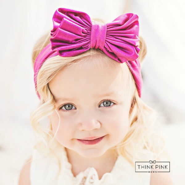 SOLID Metallic Big Bow Headwraps - Think Pink Bows - 1