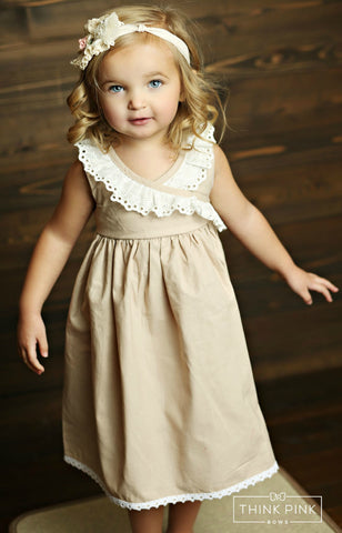 S'mores Beige Cute Little Girl Dress - Think Pink Bows - 1