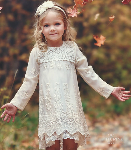 Count Your Blessings Ivory Lace Long Sleeve Dress - Think Pink Bows - 1
