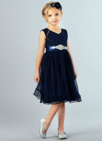 Cora Flower Girl Navy Dress -Sleeveless