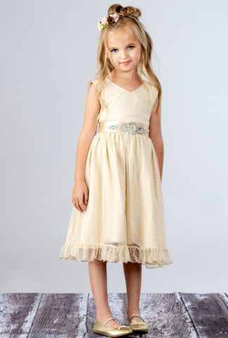Cora Flower Girl Champagne Dress -Sleeveless