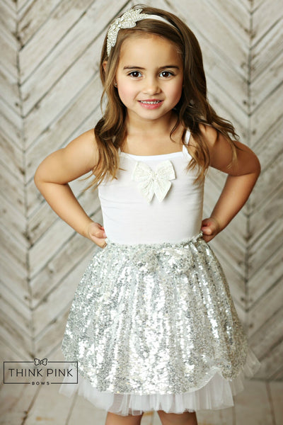 Sparkle Within Sequin Bow Skirt - Silver - Think Pink Bows - 1