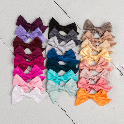 Glam Taffeta Satin Bow Nylon Headbands 23 Colors - Large