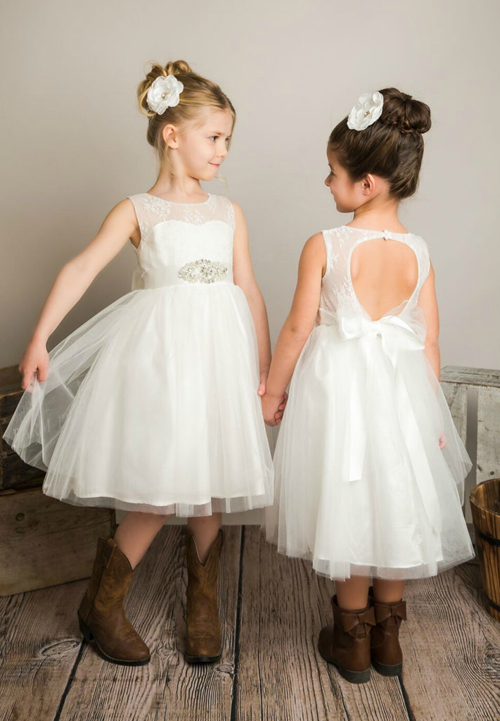 1c688ee22ce Alana Flower Girl Off White Dress – Think Pink Bows