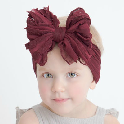 Big Ruffle Bow Nylon Headband BURGUNDY 30