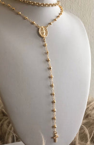 18K Gold Plated Rosary Choker Necklace