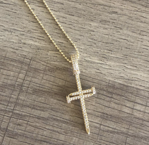 14K Gold Plated Pavé Cross Necklace