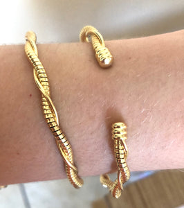 14K Gold Plated Twisted Cuff Bracelet