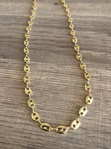 18K Gold Filled Puffed Mariner Chain