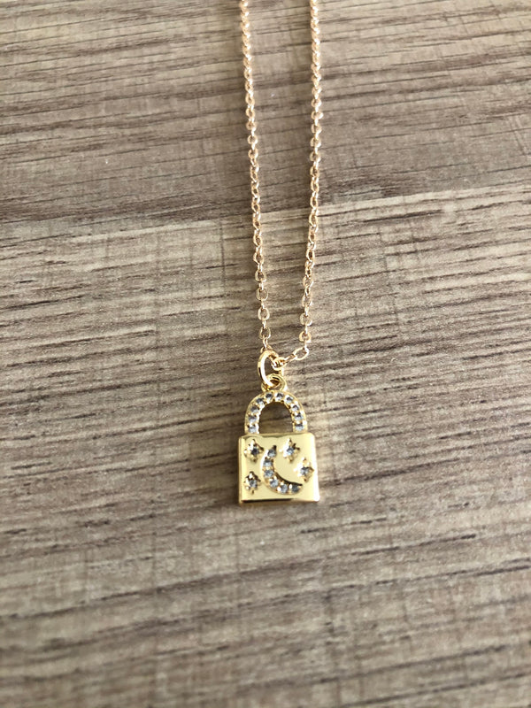 18K Gold Filled Star Lock Necklace