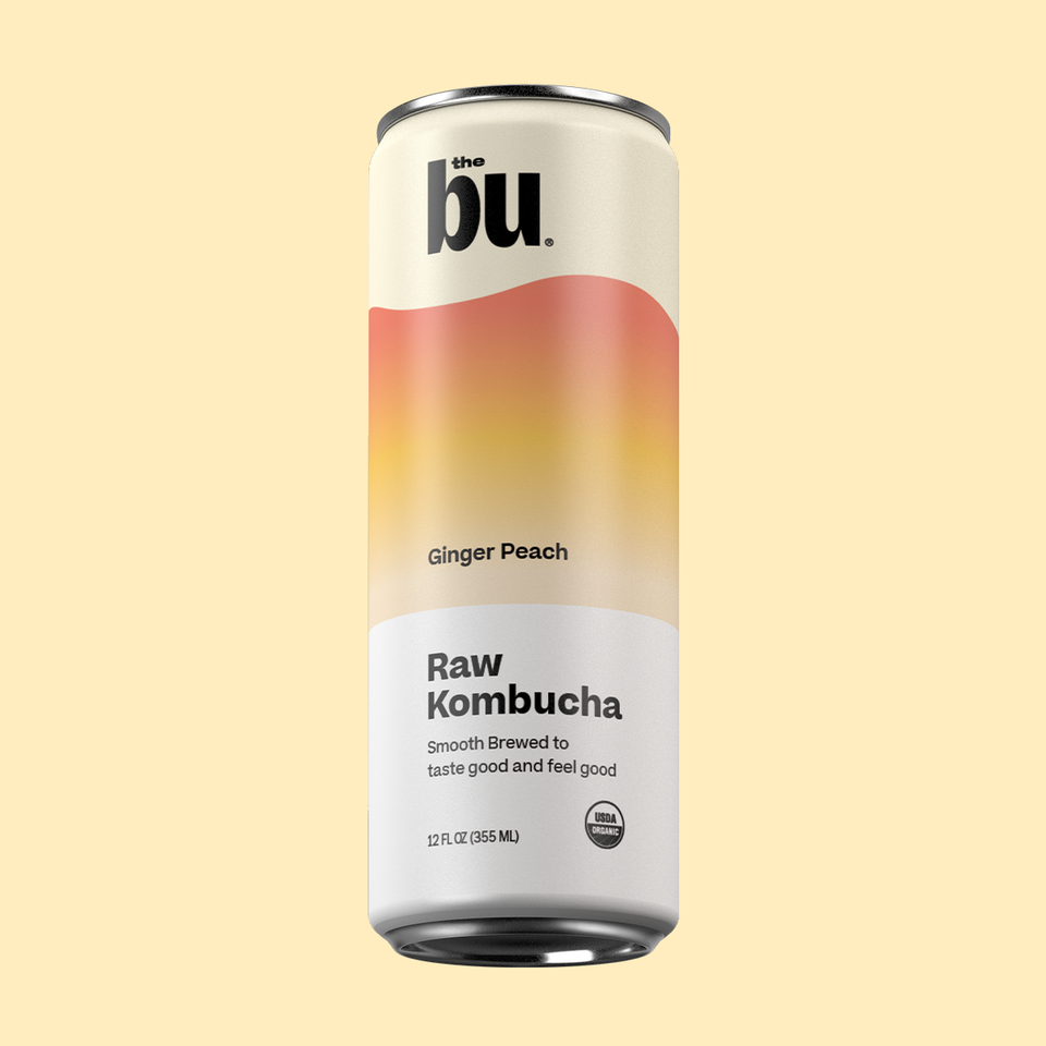 The Bu Kombucha Ginger Peach 12 Pack
