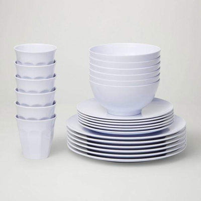 Classic Melamine Dinner Set (24 Piece) - White - Laguna Lifestyle