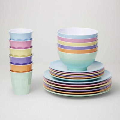 Classic Melamine Dinner Set (24 Piece) - Pastel 'Dream' - Laguna Lifestyle