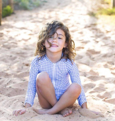 Ellie Long Sleeve Girls Swimsuit - Blue Gingham-Coco and Me-Laguna-Lifestyle