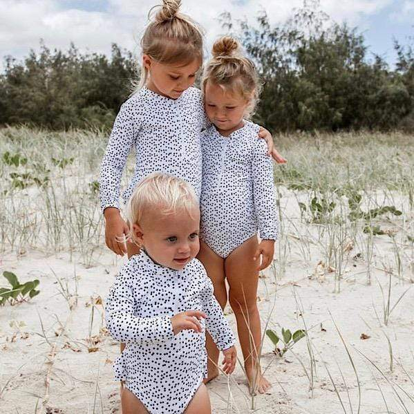 Madison Long Sleeve Girls Swimsuit - Polkadot by Coco and Me - Laguna Lifestyle