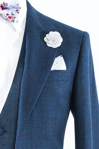 Navy Prince Of Wales Check Suit
