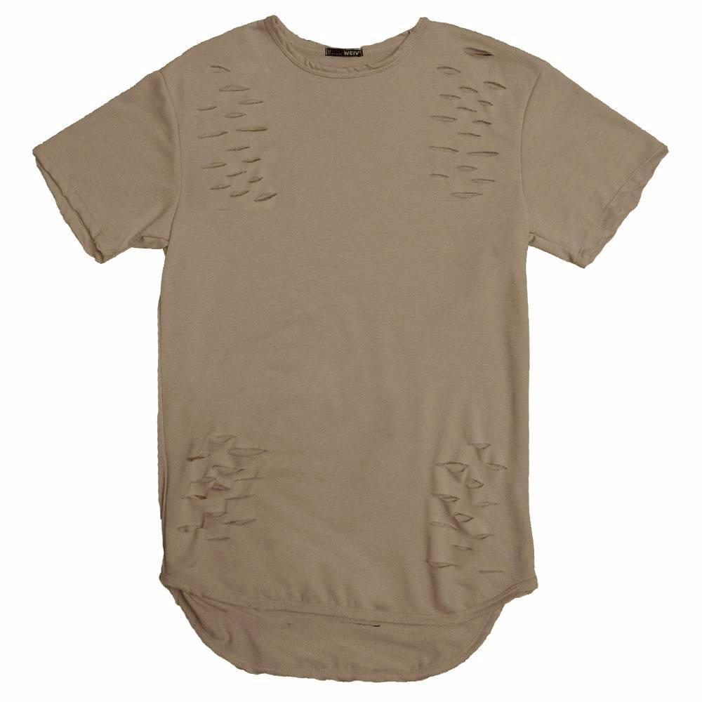 DISTRESSED SCALLOP TEE- TAUPE - Tatventure