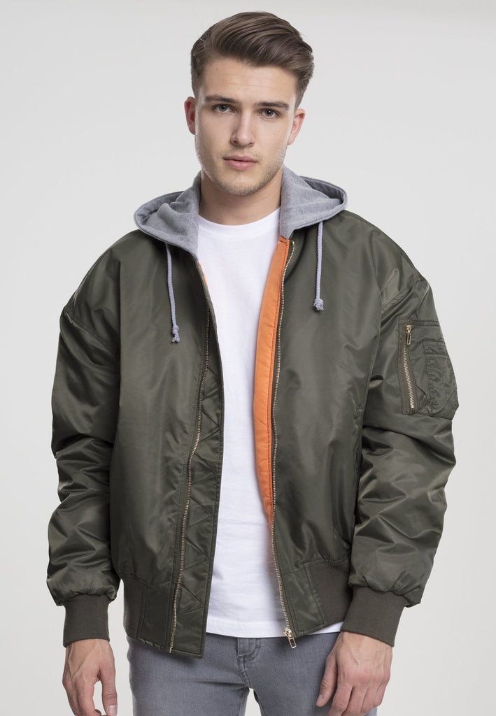 Hooded Oversized Bomber Jacket - Olive - Tatventure