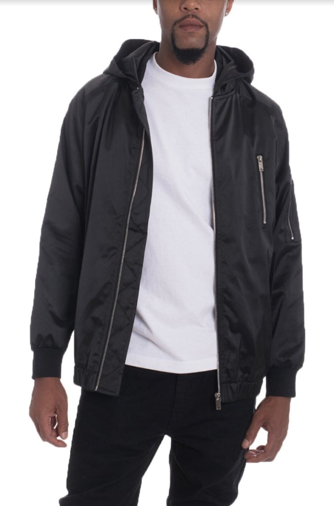 Hooded Satin Bomber, Black - Tatventure