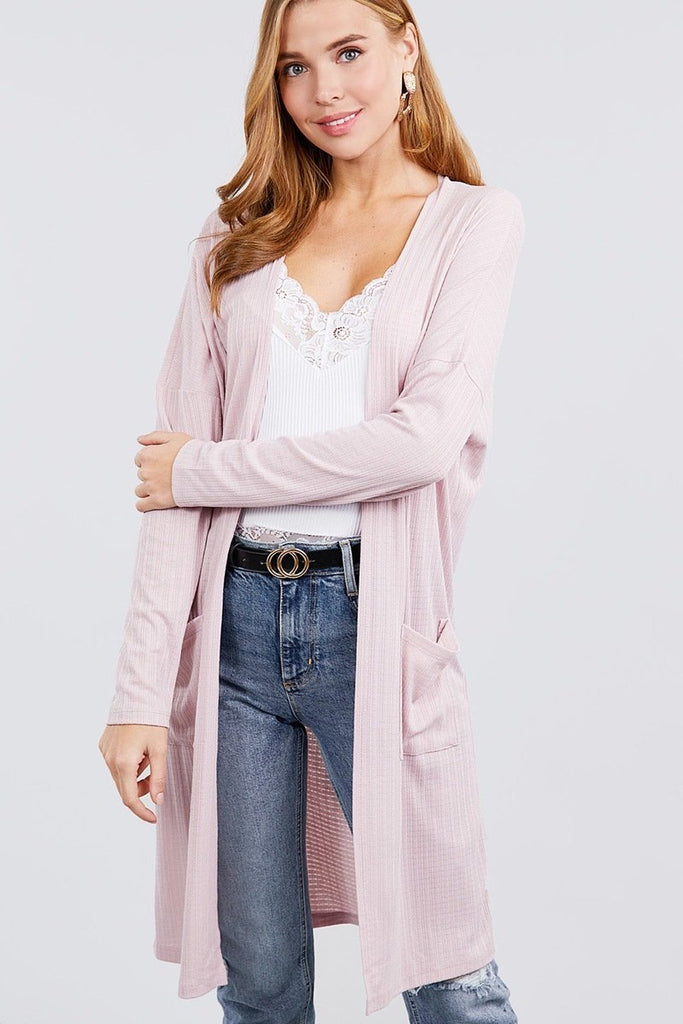 Long Sleeve Rib Cardigan w/ Pockets, Pink - Tatventure