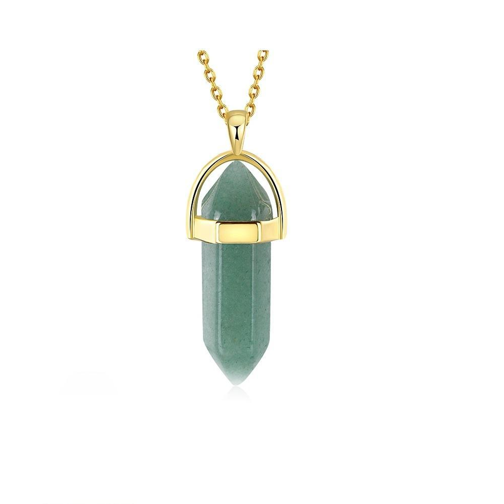 Natural Green Agate Stone Necklace, 18K Gold Plated - Tatventure
